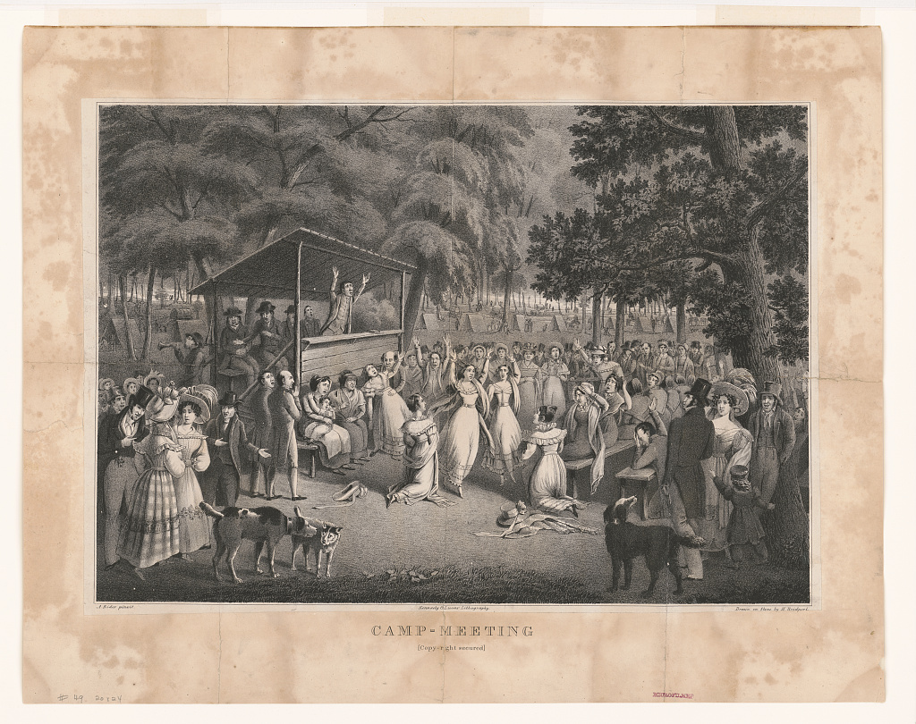 illustration of a New England camp meeting