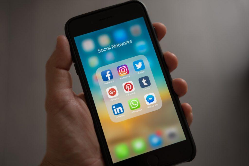 social media apps on a mobile phone