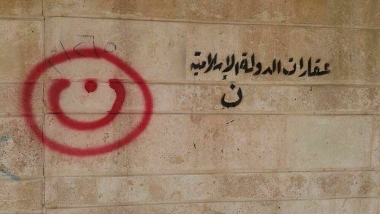 anti-Christian grafiti in Mosul, Iraq
