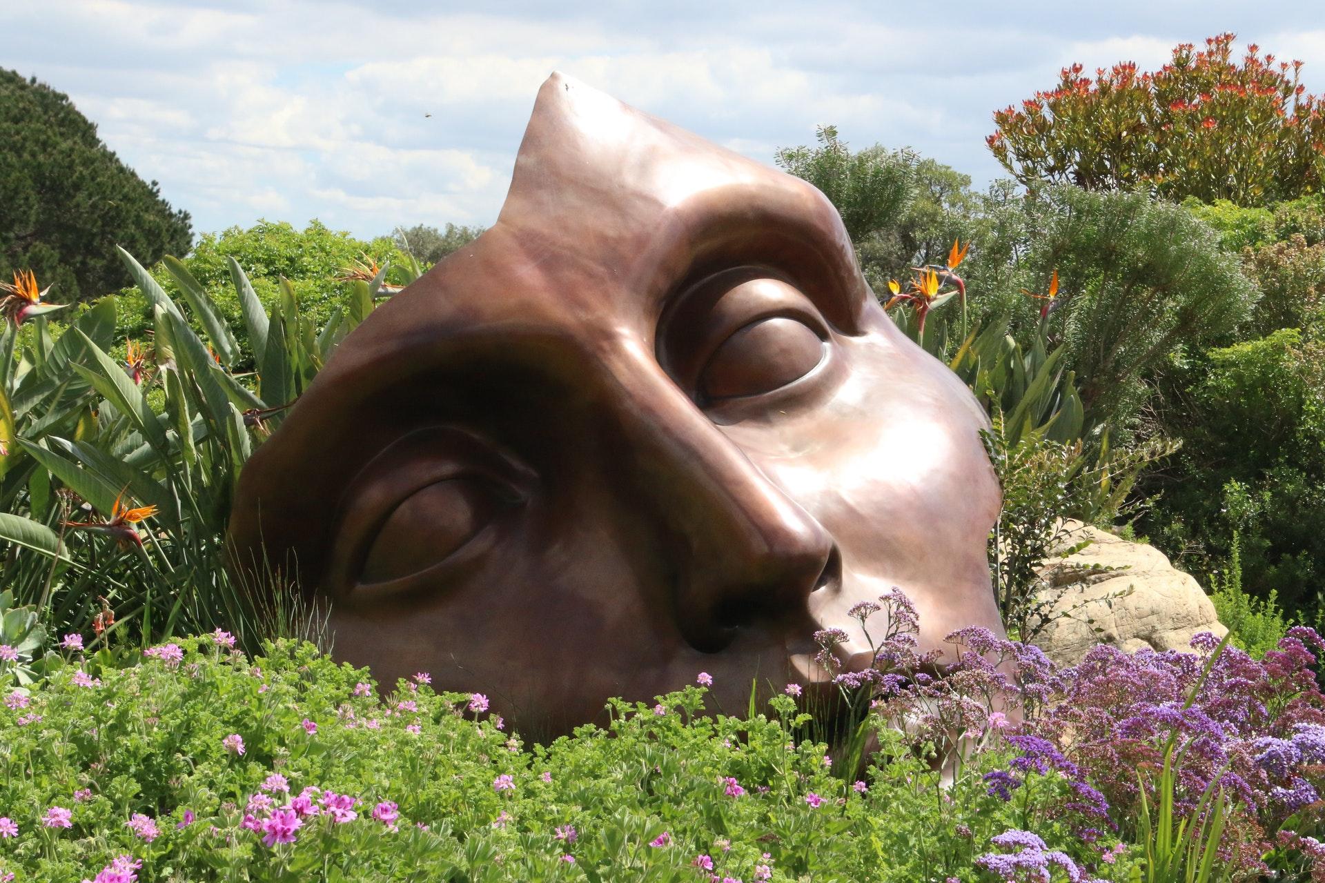 face from a broken statue